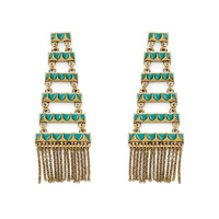 House of Harlow 1960 Peak to Peak Fringe Earrings in Turquoise