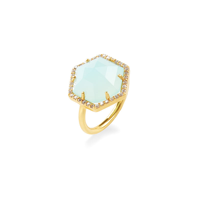 Olivia & Grace Hexagon Pave Ring in Aqua Chalcedony