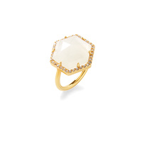 Olivia & Grace Hexagon Pave Ring in Moonstone