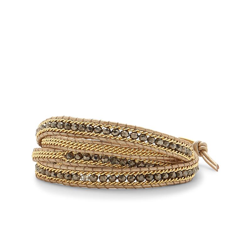 Nakamol Tan and Gold Beaded Wrap Bracelet