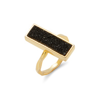 Elise M Muse Ring in Gold with Black Druzy