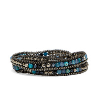 Nakamol Mixed Crystals Gunmetal Chain Wrap Bracelet