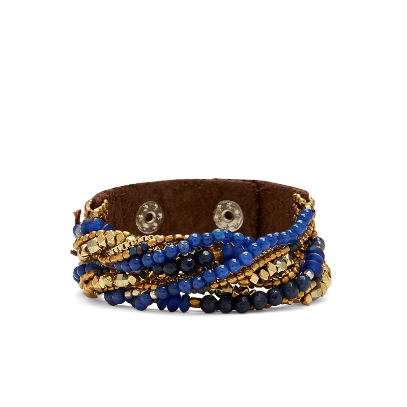 Nakamol Layered Chain Wrap Bracelet in Navy