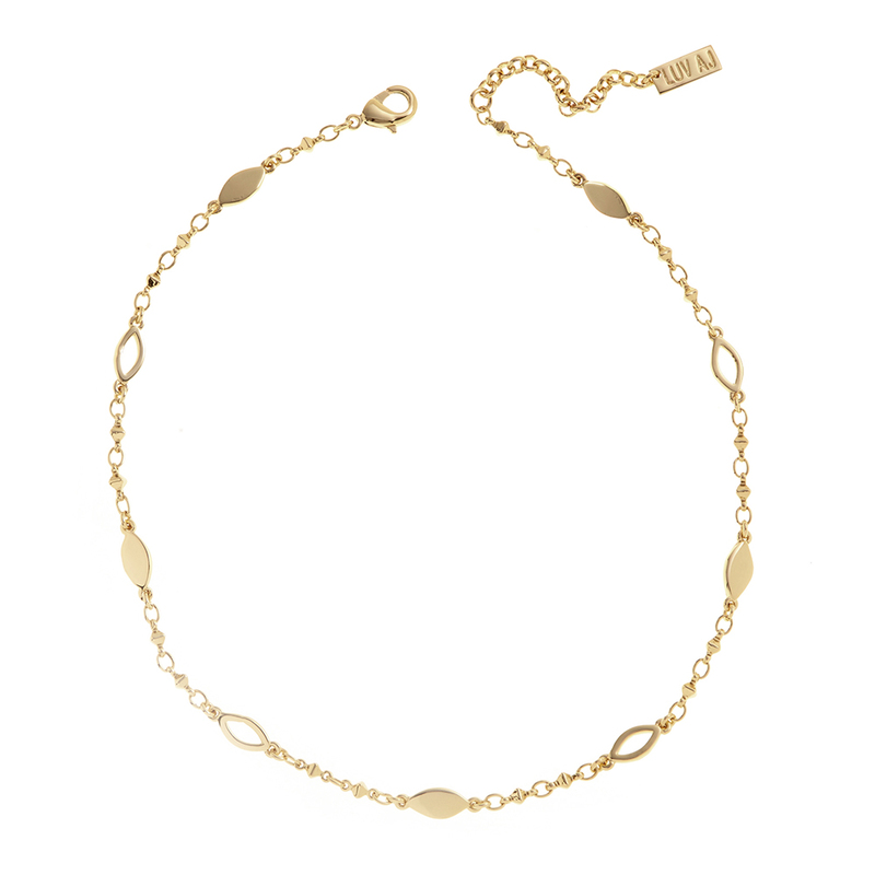 Luv AJ Marquise Link Choker in Gold