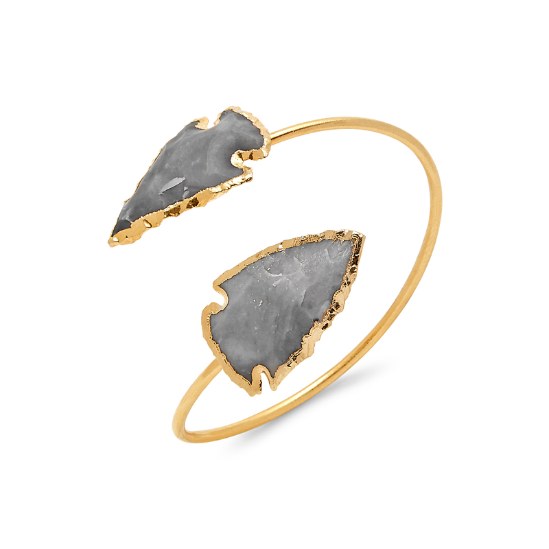 Robyn Rhodes Agate Spear Cuff in Light Gray