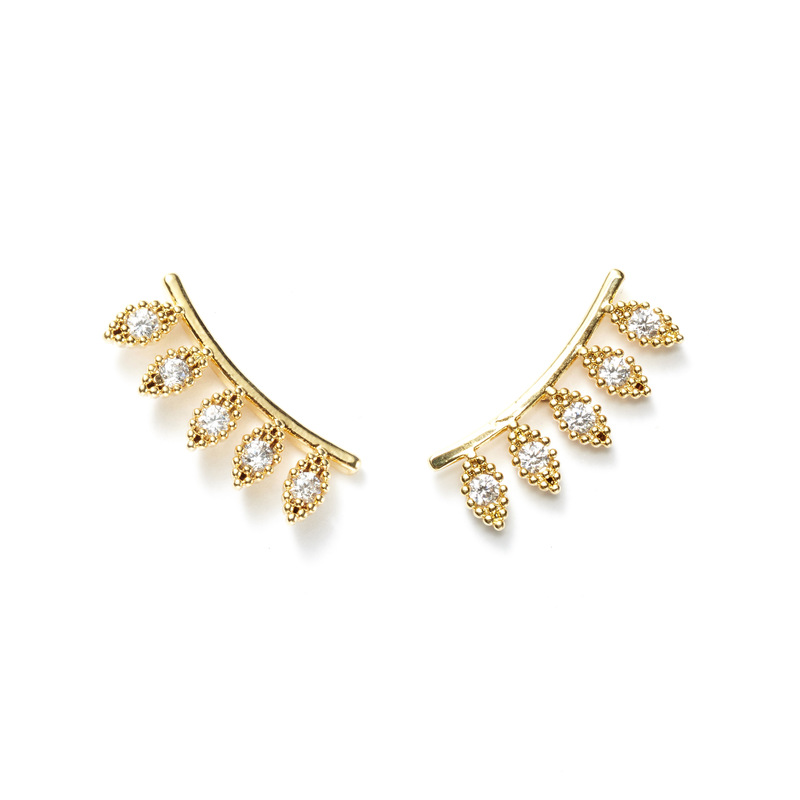 a.v. max Pave Diamond Ear Climbers in Gold