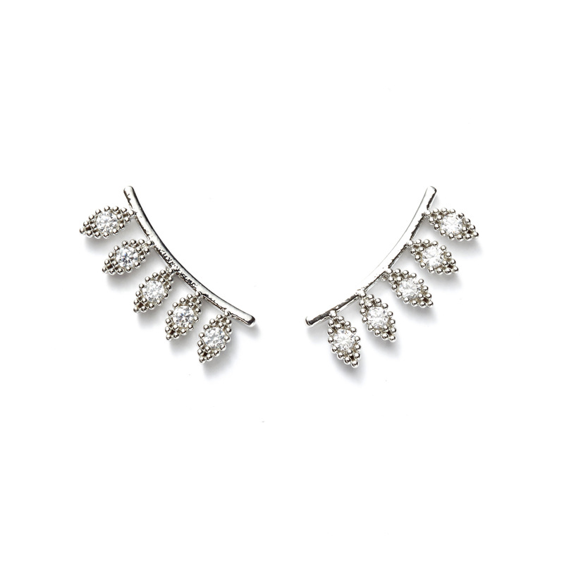 a.v. max Pave Diamond Ear Climbers in Silver