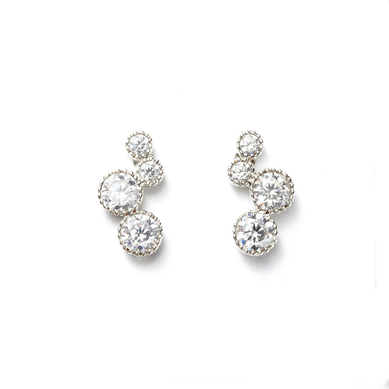 a.v. max Circle Cluster Ear Climbers in Silver