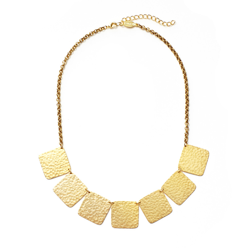 a.v. max Hammered Square Station Necklace