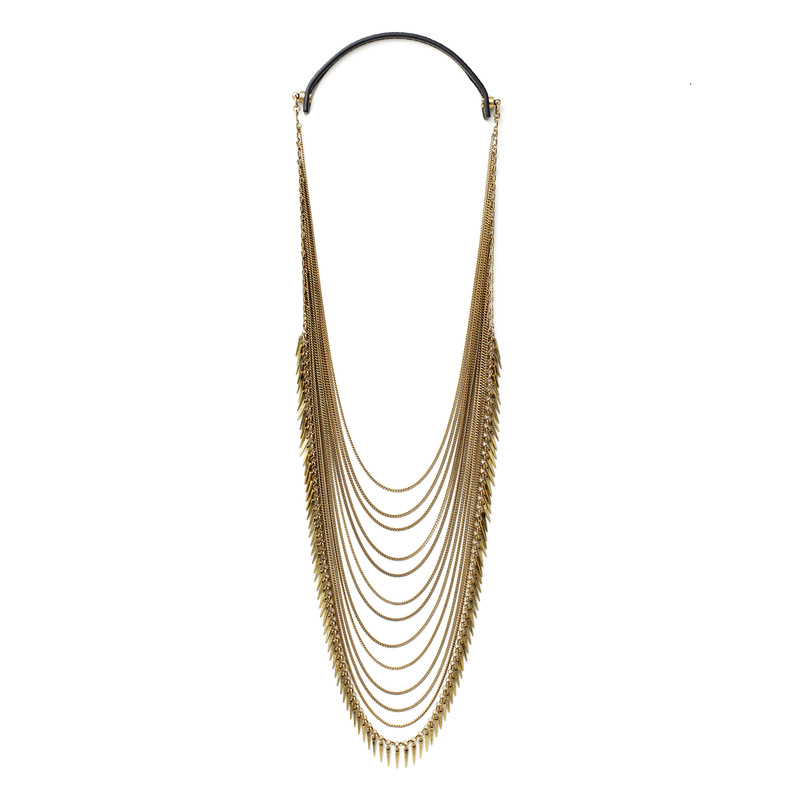 Jenny Bird Palm Cascade Necklace in Gold