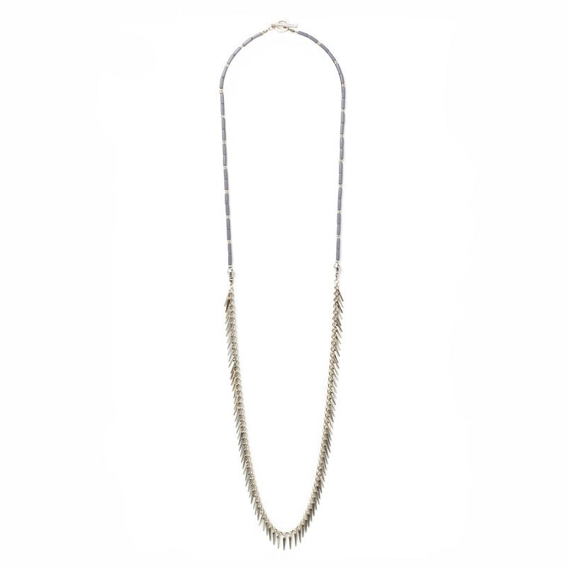 Jenny Bird Palm Rope Silver Necklace in Pewter