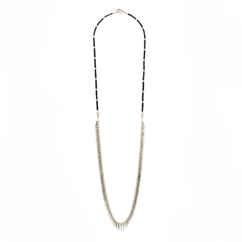 Jenny Bird Palm Rope Silver Necklace in Black