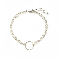 Jill Michael Double Chain Delicate Circle Bracelet in Silver