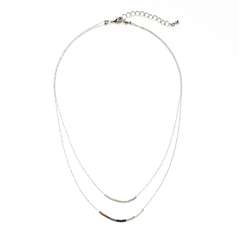 Jill Michael Beaded Layer Necklace in Silver