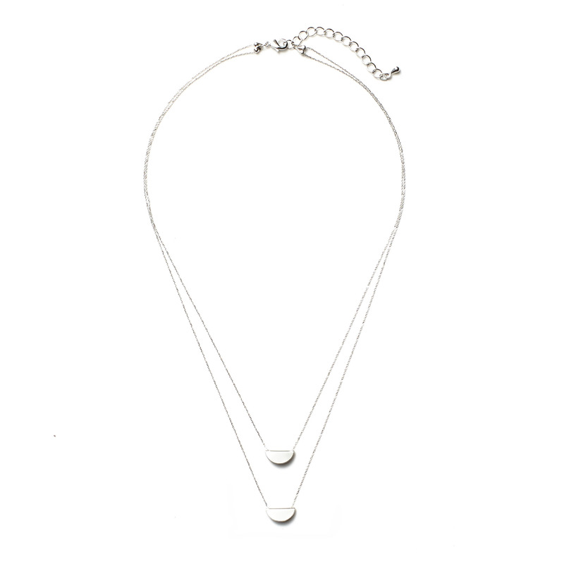 Jill Michael Folded Circle Layer Necklace in Silver