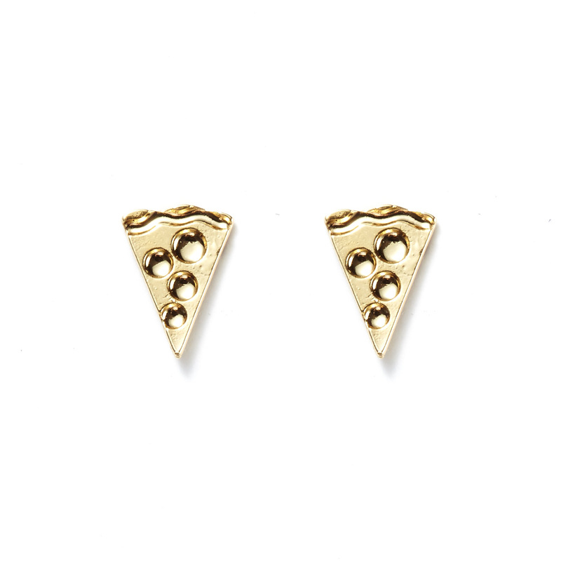 Kris Nations Pizza Studs in Gold