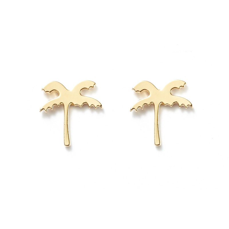 Kris Nations Palm Tree Studs in Gold
