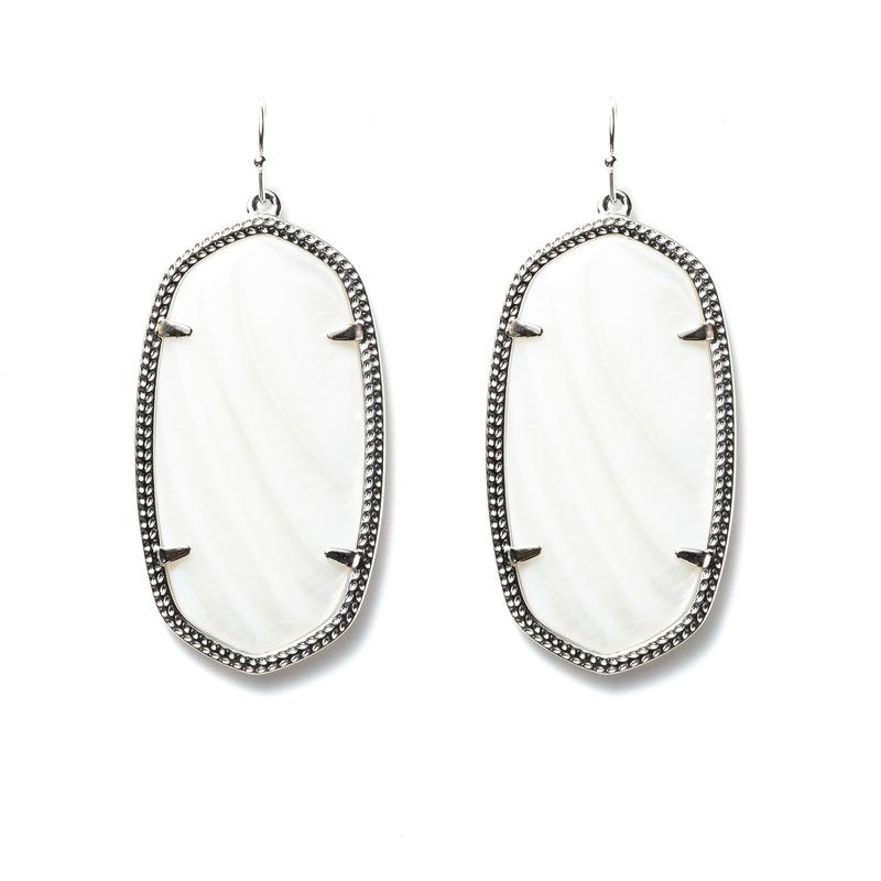 Kendra Scott Danielle Silver Earrings in White Pearl