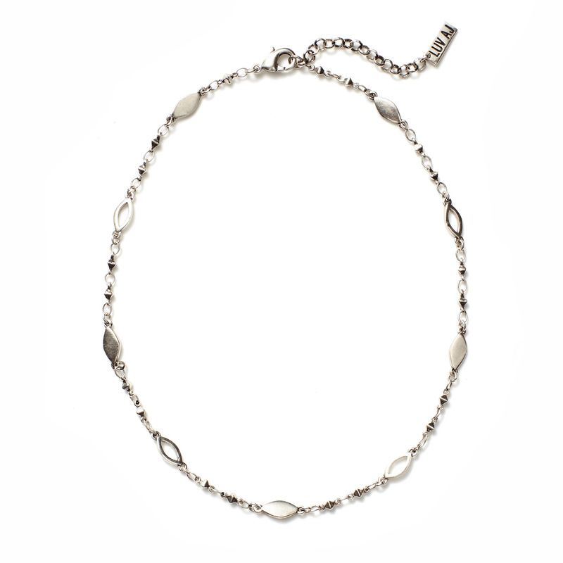Luv AJ Marquise Link Choker in Silver