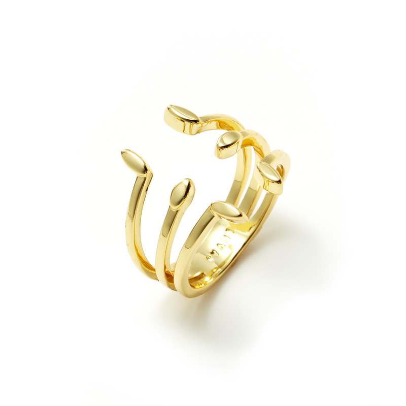 Luv AJ Triple Marquise Stud Ring in Gold