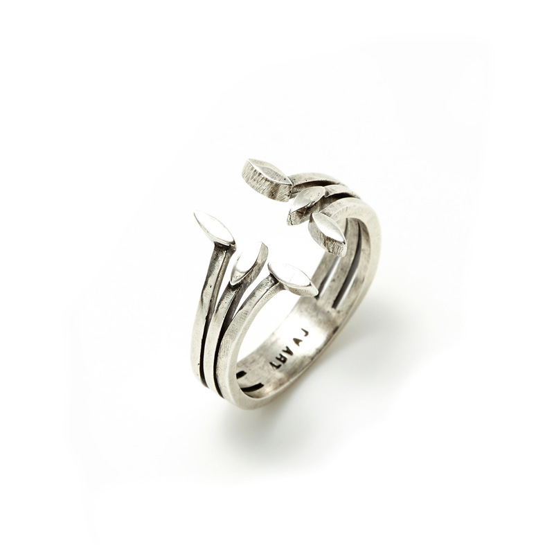 Luv AJ Triple Marquise Stud Ring in Silver