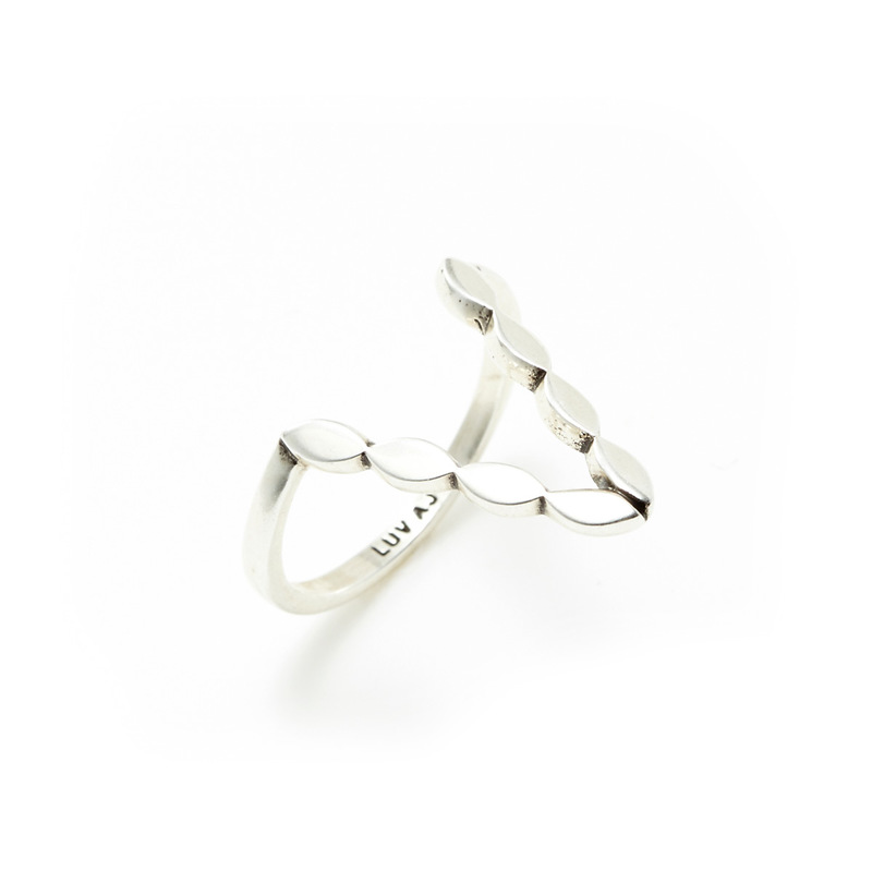Luv AJ Marquise V Ring in Silver