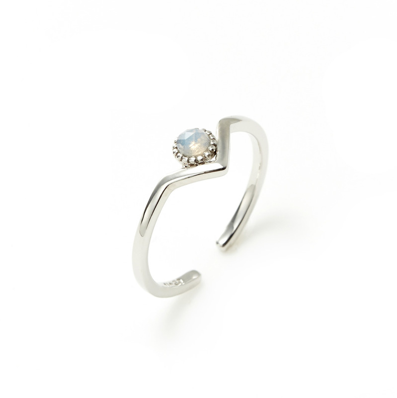 Wanderlust + Co Zeta Ring in Silver and Opal
