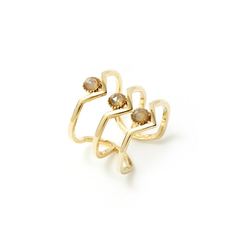 Wanderlust + Co Triple Zeta Ring in Gold and Slate