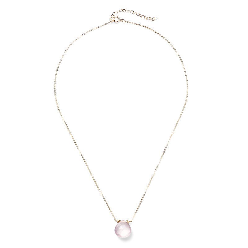Amelia Rose Emily Necklace in Gold & Rose Quartz