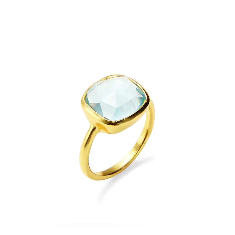 Amelia Rose Cabo Ring in Gold &  Sky Blue Quartz