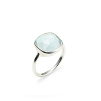Amelia Rose Cabo Ring in Silver &  Sky Blue Quartz