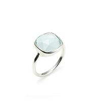 Amelia Rose Cabo Ring in Silver &  Sky Blue Quartz