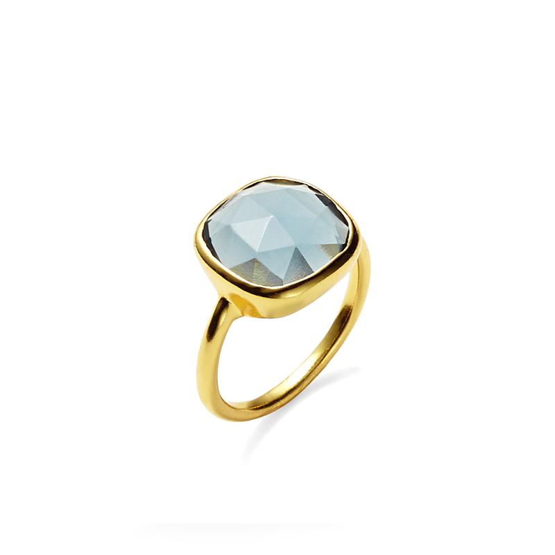 Amelia Rose Cabo Ring in Gold & Sapphire Quartz