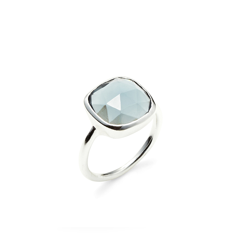 Amelia Rose Cabo Ring in Silver & Sapphire Quartz