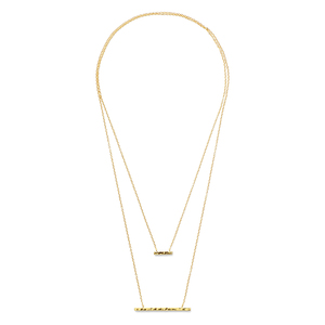 Gorjana Mave Hammered Double Pendant Necklace in Gold
