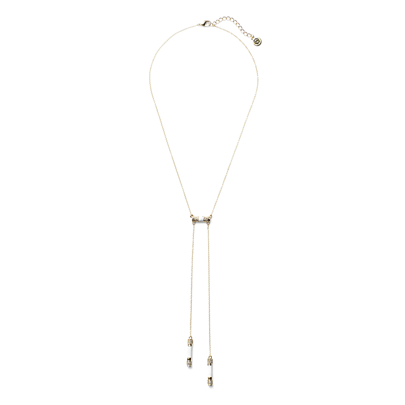 House of Harlow 1960 Age of Antiquity Bolo Tie Necklace in Howlite