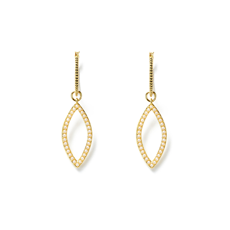 Luv AJ Studded Marquise Hoops in Gold