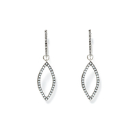 Luv AJ Studded Marquise Hoops in Silver
