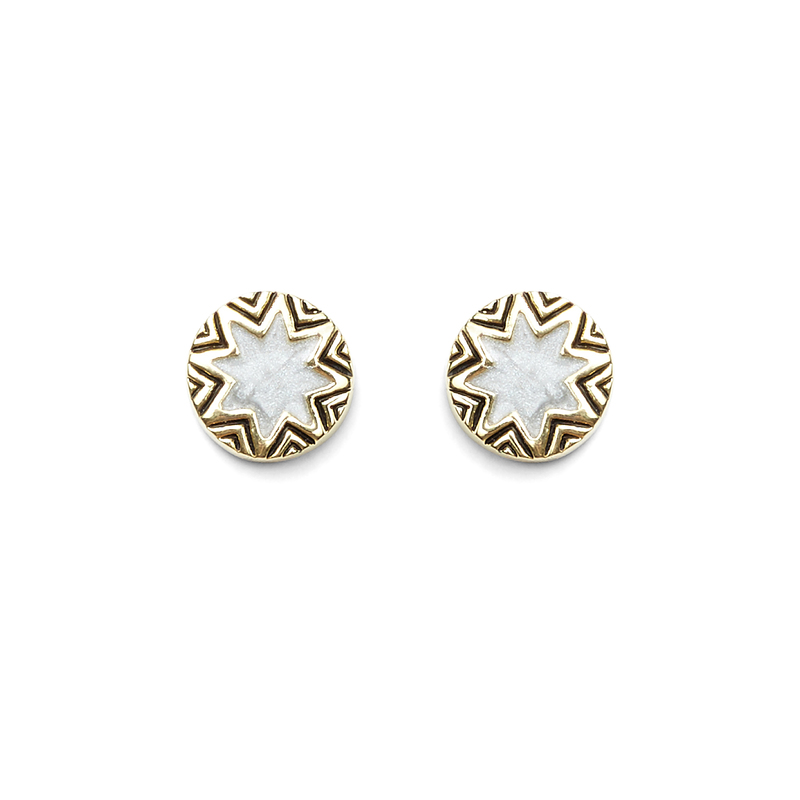 House of Harlow 1960 Enameled Engraved Mini Sunburst Stud Earrings in Gold and Grey