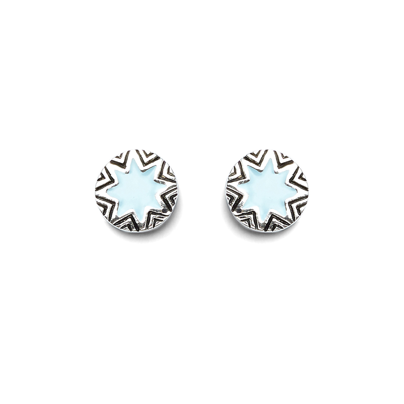 House of Harlow 1960 Mini Engraved Sunburst Stud Earrings in Silver and Ice Blue