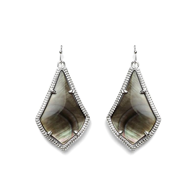Kendra Scott Alex Silver Earrings in  Black Pearl