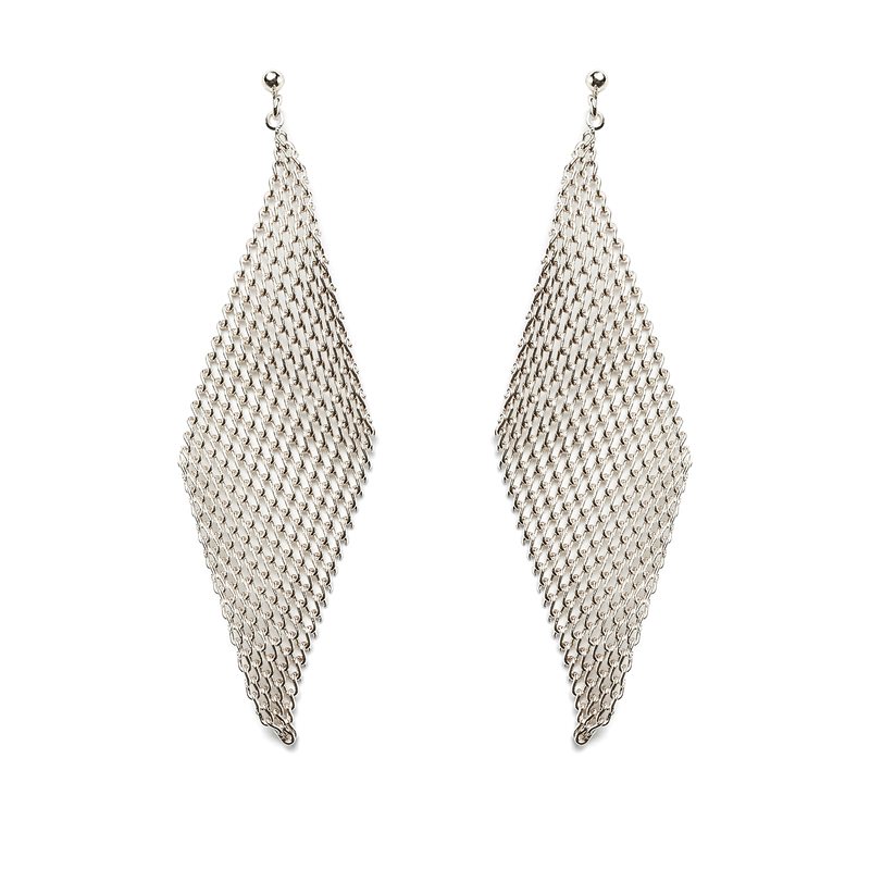 Jules Smith Mesh Wave Earrings in Silver
