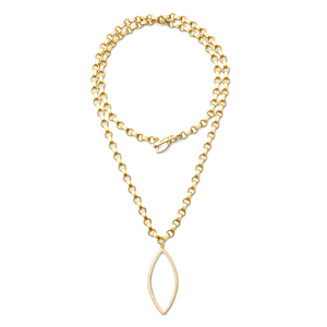 Luv AJ Marquise Statement Necklace in Gold