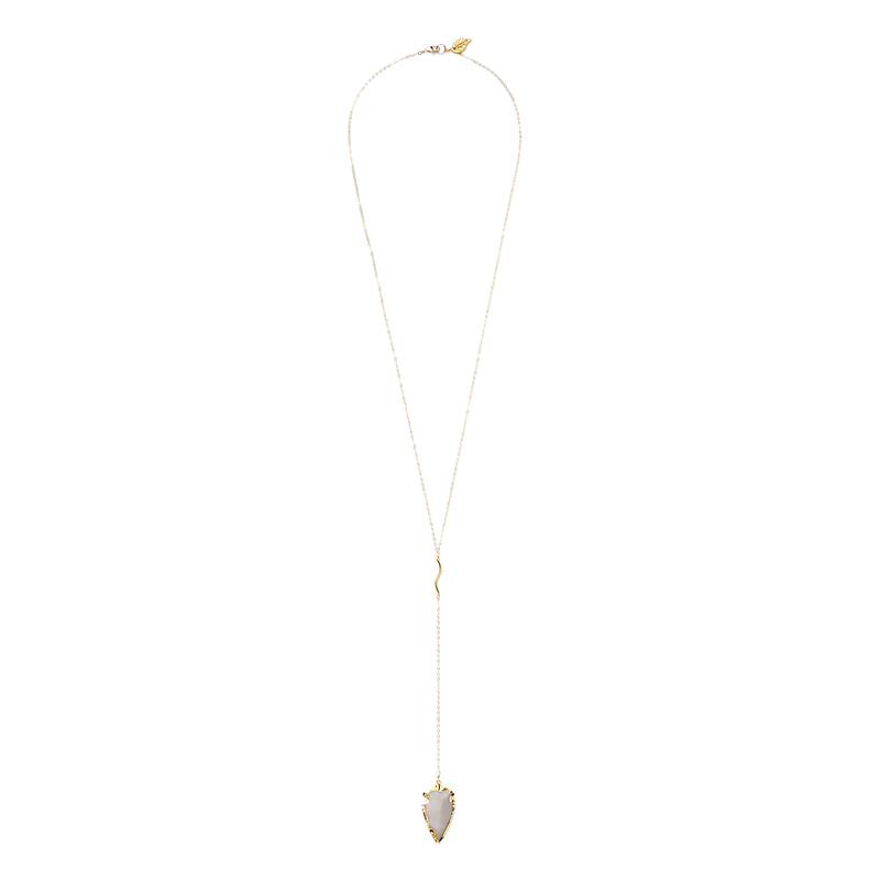 Robyn Rhodes Agate Spear Lariat Necklace in Light Gray