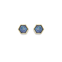 SLATE Hexagon Set in Stone Studs
