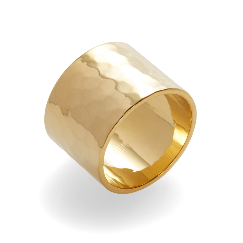 a.v. max Wide Hammered Ring in Gold