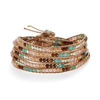 Nakamol Cream and Bronze Wrap Bracelet with Turquoise