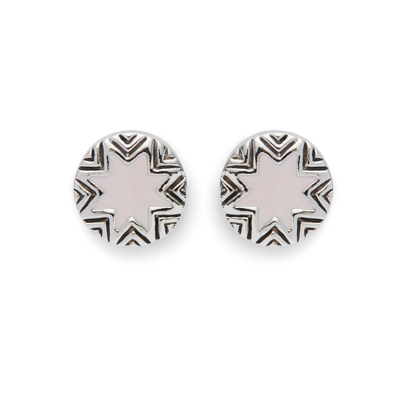 House of Harlow 1960 Engraved Sunburst Stud Earrings in Nude Pink