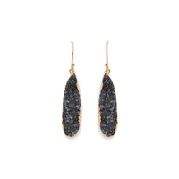 Elise M Emily Earrings in Black Druzy