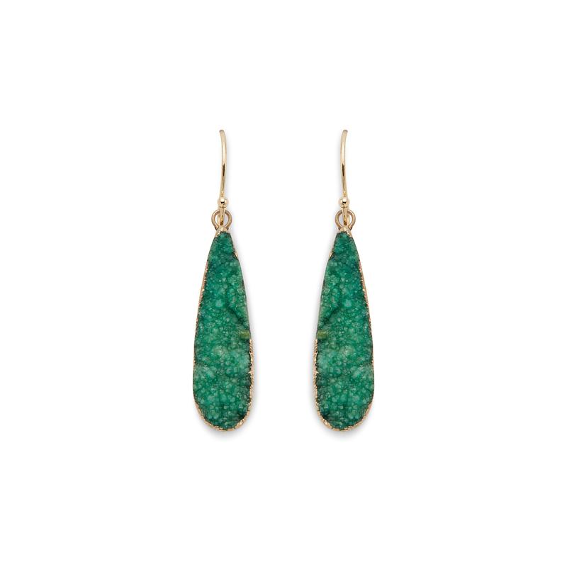Elise M Emily Earrings in Green Druzy